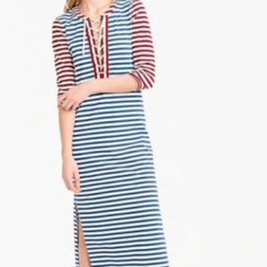 J crew striped lace-up dress red blue nautical xs